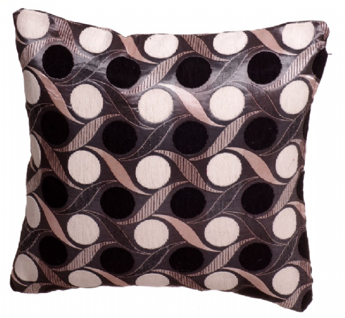 STYLISH TRENDY CIRCLES LEAF DESIGN FILLED CUSHION BLACK COLOUR